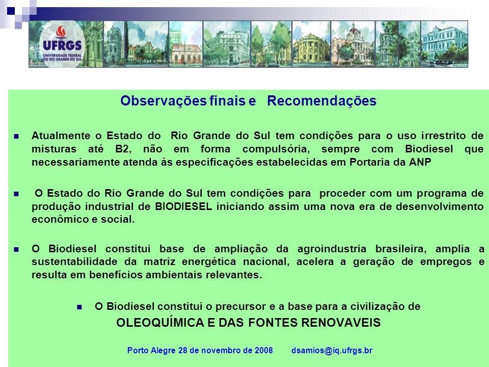 Observações finais e Recomendações Atualmente o Estado do Rio Grande do Sul tem condições para o uso irrestrito de misturas até B2, não em forma compu