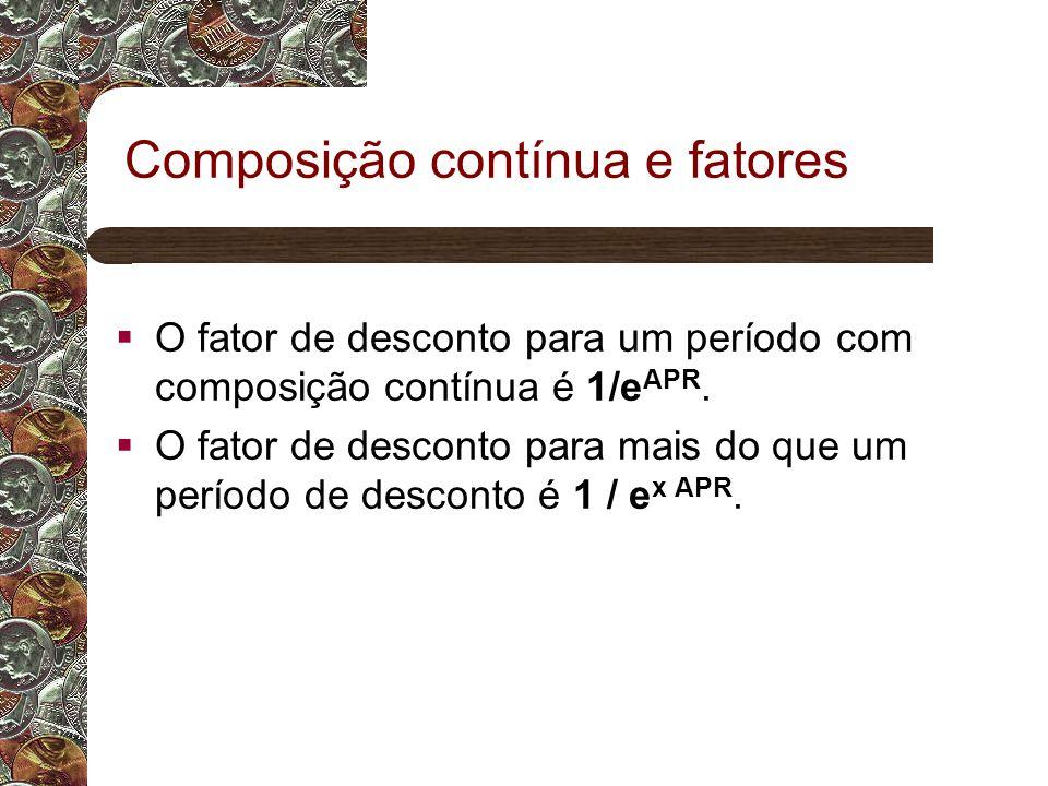 Composição contínua e fatores O fator de desconto para um período com composição contínua é 1/e APR.