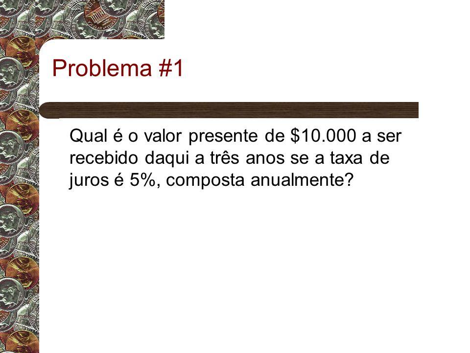 Problema #1 Qual é o valor presente de $10.000 a ser recebido daqui a três anos se a taxa de juros é 5%, composta anualmente?