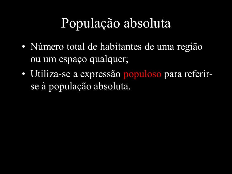 População absoluta Número total de habitantes de uma região ou um espaço qualquer; Utiliza-se a expressão populoso para referir- se à população absolu