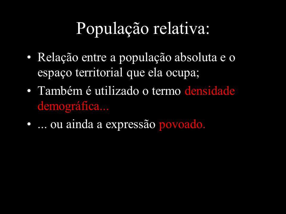 População relativa: Relação entre a população absoluta e o espaço territorial que ela ocupa; Também é utilizado o termo densidade demográfica...... ou