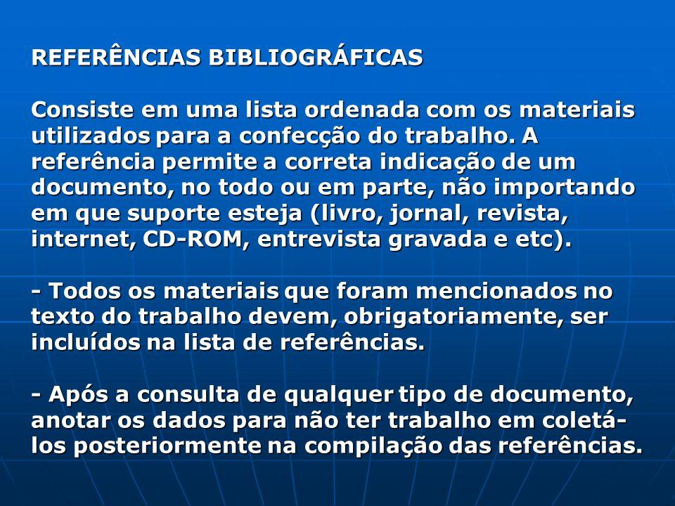 REFERÊNCIAS BIBLIOGRÁFICAS Consiste em uma lista ordenada com os materiais utilizados para a confecção do trabalho. A referência permite a correta ind