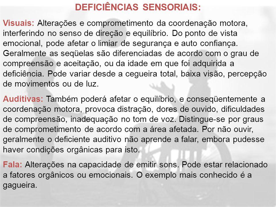 DEFICIÊNCIAS SENSORIAIS: Visuais: Alterações e comprometimento da coordenação motora, interferindo no senso de direção e equilíbrio. Do ponto de vista
