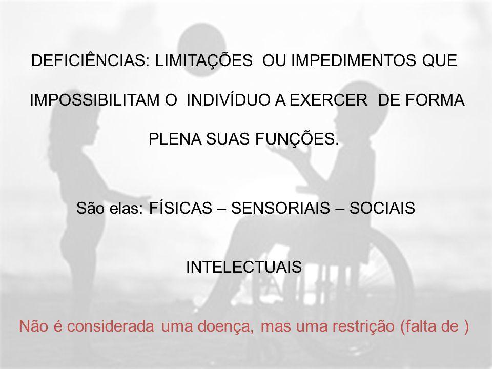 DEFICIÊNCIAS: LIMITAÇÕES OU IMPEDIMENTOS QUE IMPOSSIBILITAM O INDIVÍDUO A EXERCER DE FORMA PLENA SUAS FUNÇÕES. São elas: FÍSICAS – SENSORIAIS – SOCIAI