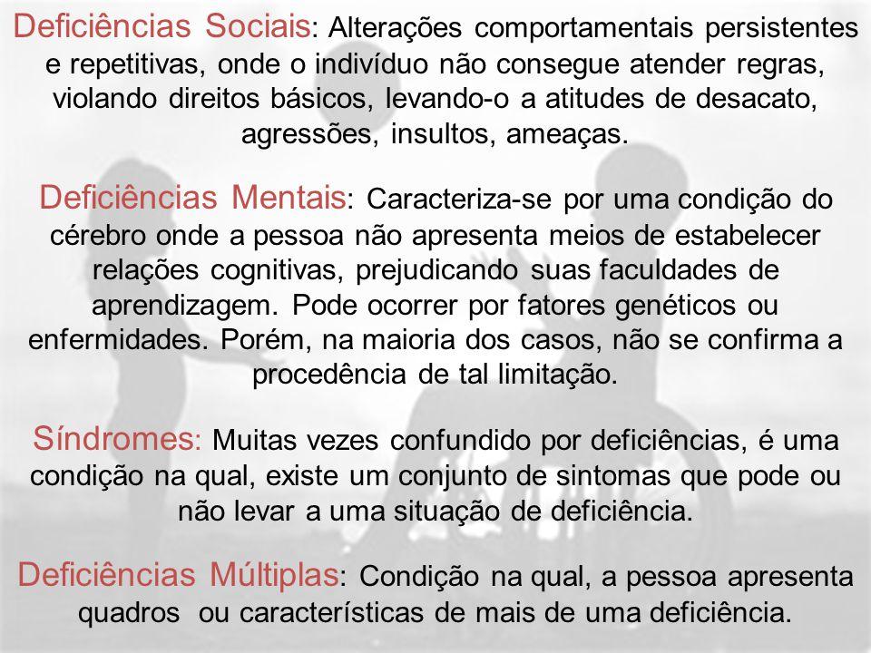 Deficiências Sociais : Alterações comportamentais persistentes e repetitivas, onde o indivíduo não consegue atender regras, violando direitos básicos,