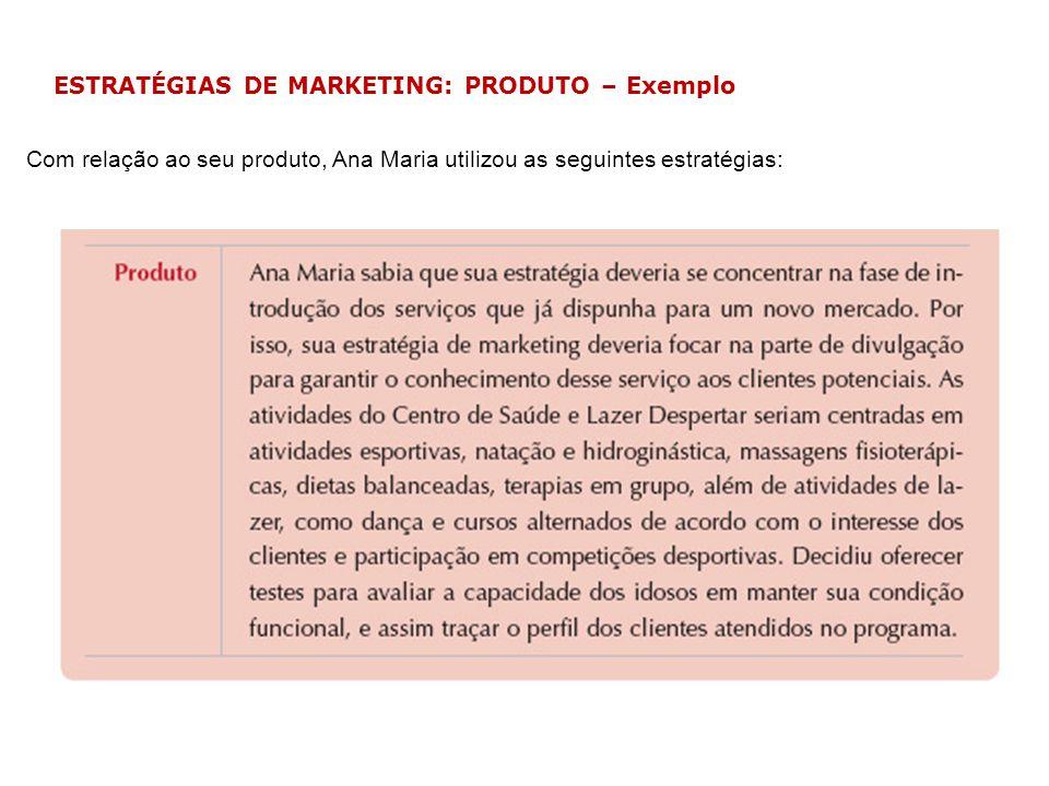 ESTRATÉGIAS DE MARKETING: PRODUTO – Exemplo Com relação ao seu produto, Ana Maria utilizou as seguintes estratégias:
