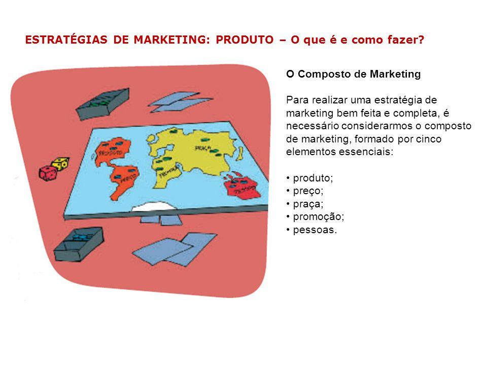 ESTRATÉGIAS DE MARKETING: PRODUTO – O que é e como fazer? O Composto de Marketing Para realizar uma estratégia de marketing bem feita e completa, é ne