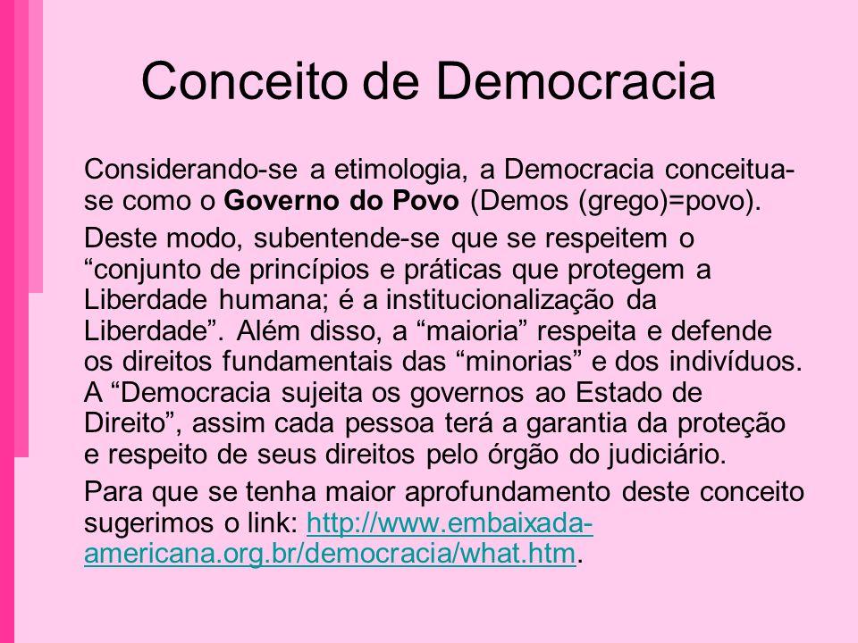 Conceito de Democracia Considerando-se a etimologia, a Democracia conceitua- se como o Governo do Povo (Demos (grego)=povo). Deste modo, subentende-se