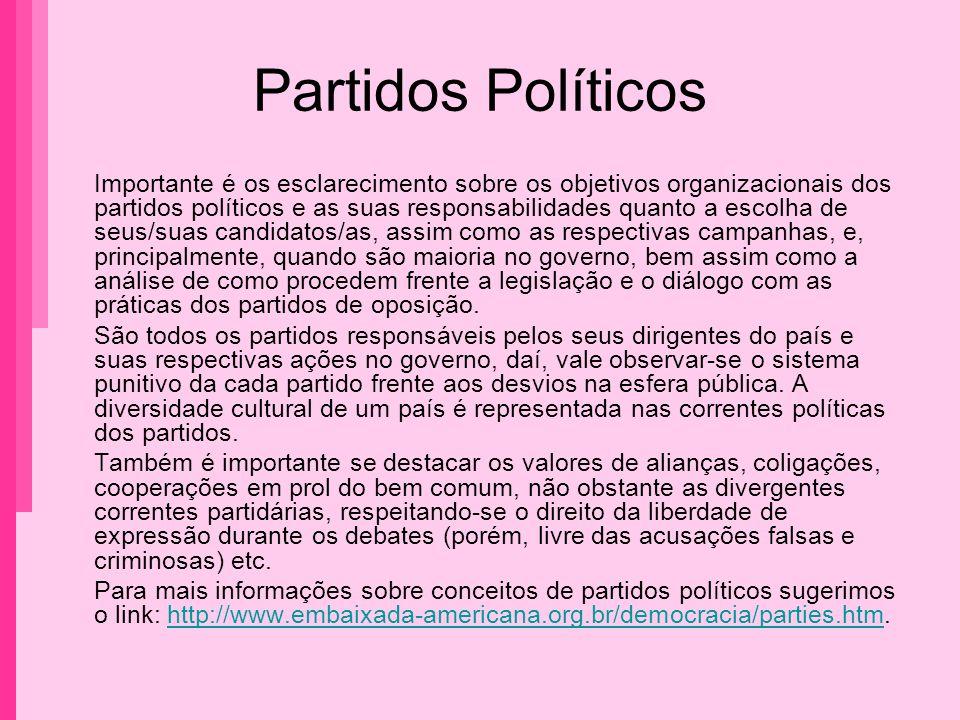 Partidos Políticos Importante é os esclarecimento sobre os objetivos organizacionais dos partidos políticos e as suas responsabilidades quanto a escol