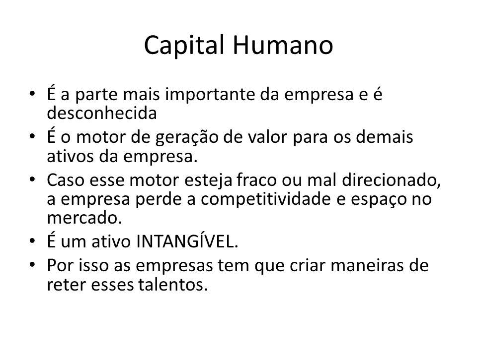 Capital Humano É a parte mais importante da empresa e é desconhecida É o motor de geração de valor para os demais ativos da empresa. Caso esse motor e