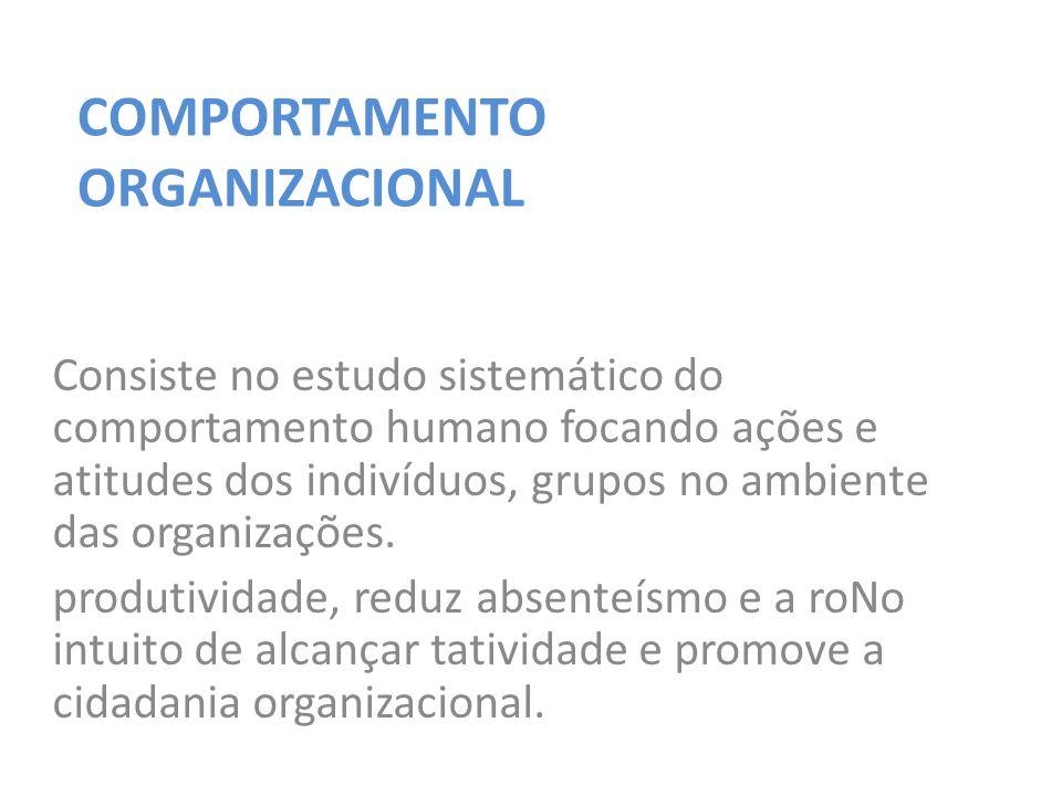 Consiste no estudo sistemático do comportamento humano focando ações e atitudes dos indivíduos, grupos no ambiente das organizações.