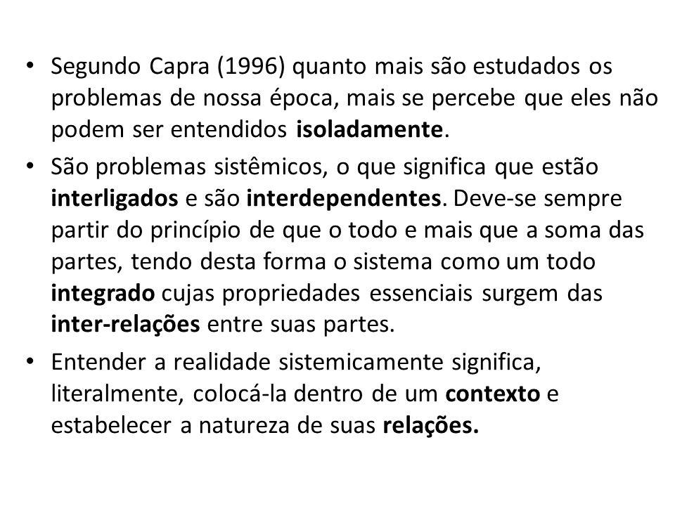 Segundo Capra (1996) quanto mais são estudados os problemas de nossa época, mais se percebe que eles não podem ser entendidos isoladamente. São proble