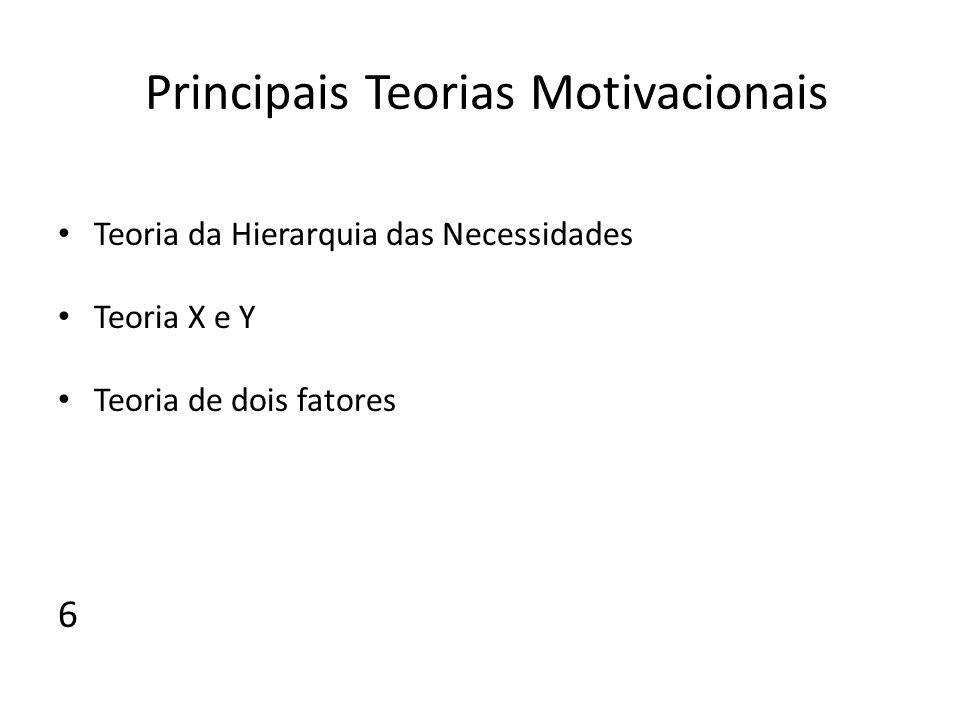 Principais Teorias Motivacionais Teoria da Hierarquia das Necessidades Teoria X e Y Teoria de dois fatores 6