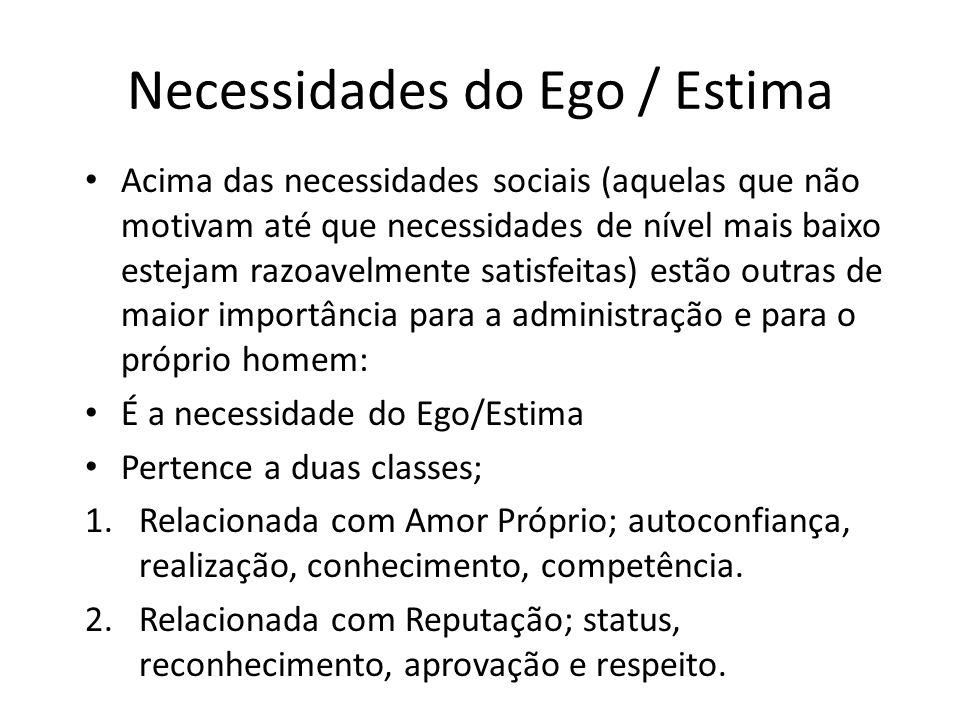 Necessidades do Ego / Estima Acima das necessidades sociais (aquelas que não motivam até que necessidades de nível mais baixo estejam razoavelmente sa