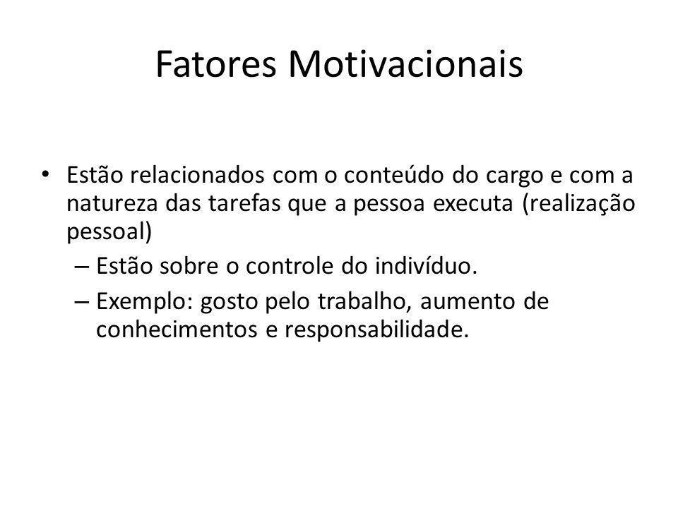 Fatores Motivacionais Estão relacionados com o conteúdo do cargo e com a natureza das tarefas que a pessoa executa (realização pessoal) – Estão sobre o controle do indivíduo.