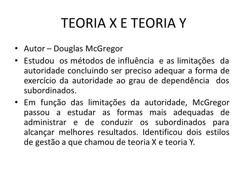 TEORIA X E TEORIA Y Autor – Douglas McGregor Estudou os métodos de influência e as limitações da autoridade concluindo ser preciso adequar a forma de exercício da autoridade ao grau de dependência dos subordinados.