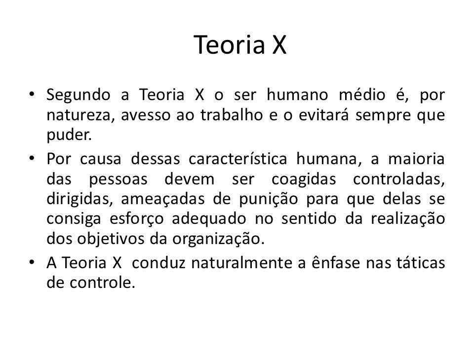 Teoria X Segundo a Teoria X o ser humano médio é, por natureza, avesso ao trabalho e o evitará sempre que puder. Por causa dessas característica human