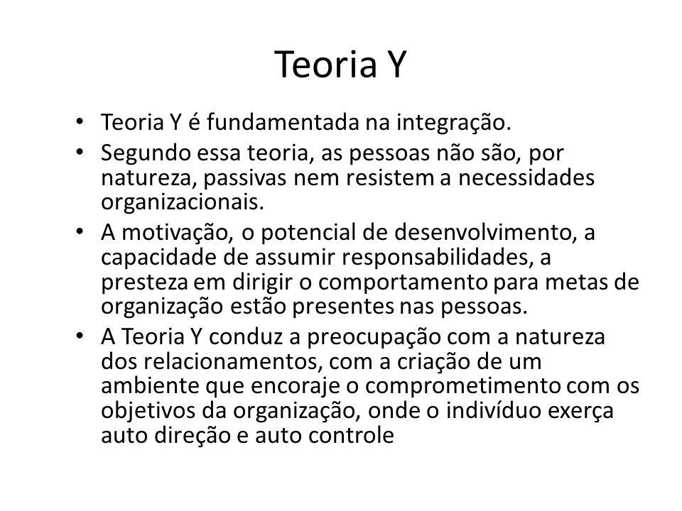 Teoria Y Teoria Y é fundamentada na integração.