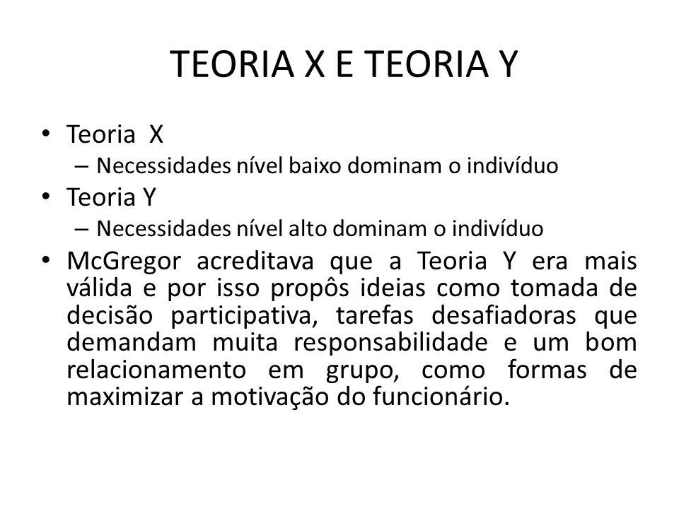 TEORIA X E TEORIA Y Teoria X – Necessidades nível baixo dominam o indivíduo Teoria Y – Necessidades nível alto dominam o indivíduo McGregor acreditava