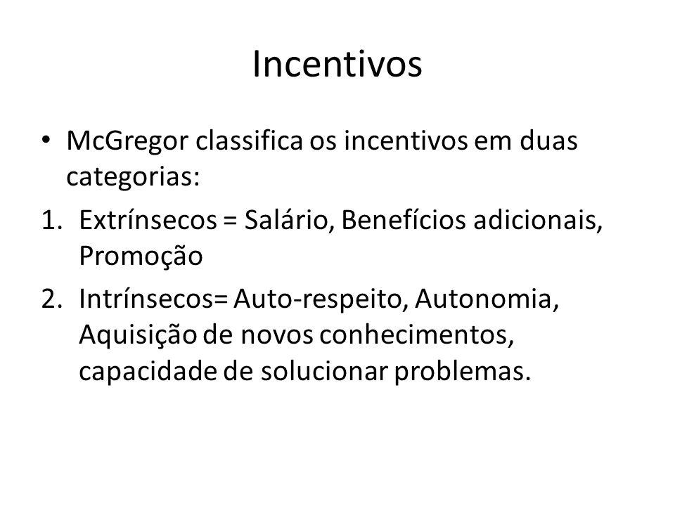 Incentivos McGregor classifica os incentivos em duas categorias: 1.Extrínsecos = Salário, Benefícios adicionais, Promoção 2.Intrínsecos= Auto-respeito, Autonomia, Aquisição de novos conhecimentos, capacidade de solucionar problemas.