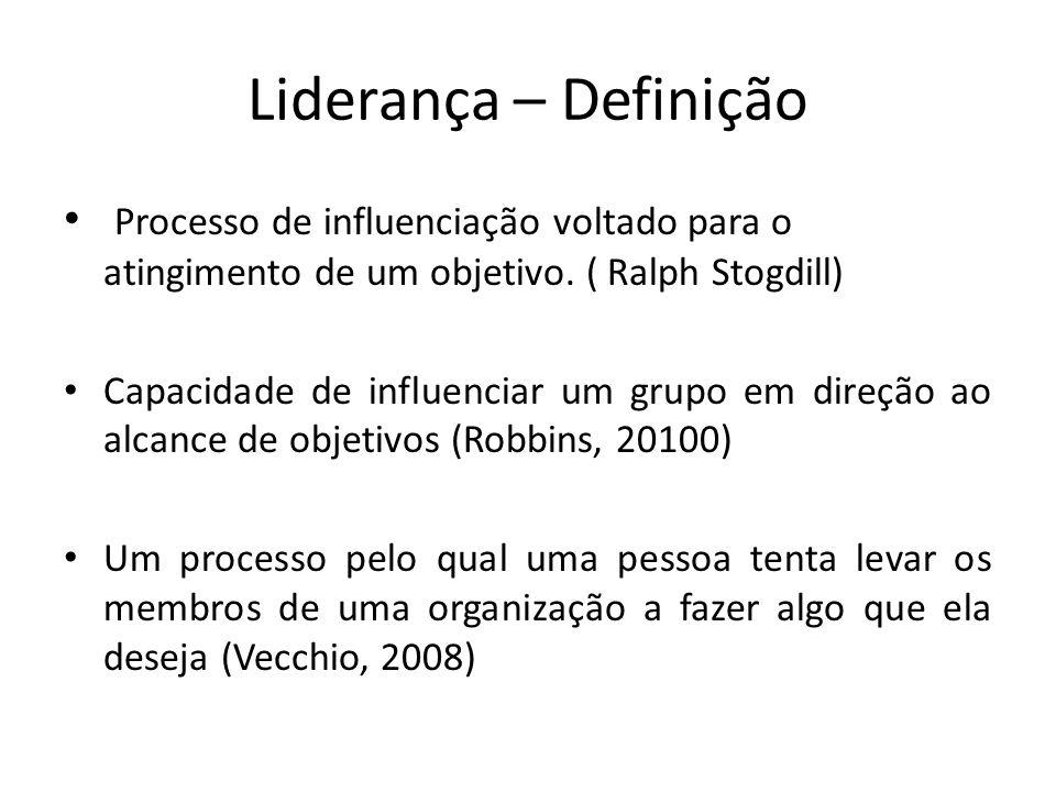 Liderança – Definição Processo de influenciação voltado para o atingimento de um objetivo. ( Ralph Stogdill) Capacidade de influenciar um grupo em dir
