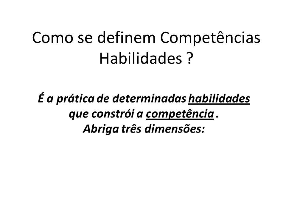 Como se definem Competências Habilidades ? É a prática de determinadas habilidades que constrói a competência. Abriga três dimensões: