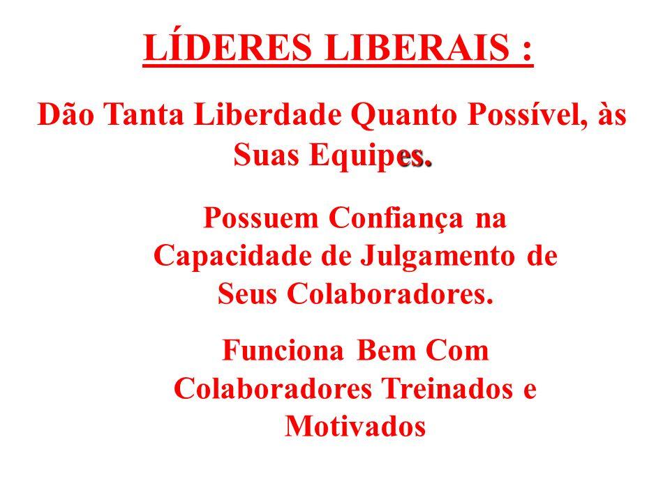 LÍDERES LIBERAIS : es.Dão Tanta Liberdade Quanto Possível, às Suas Equipes.