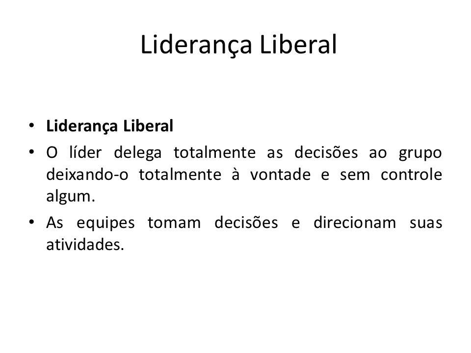 Liderança Liberal O líder delega totalmente as decisões ao grupo deixando-o totalmente à vontade e sem controle algum. As equipes tomam decisões e dir