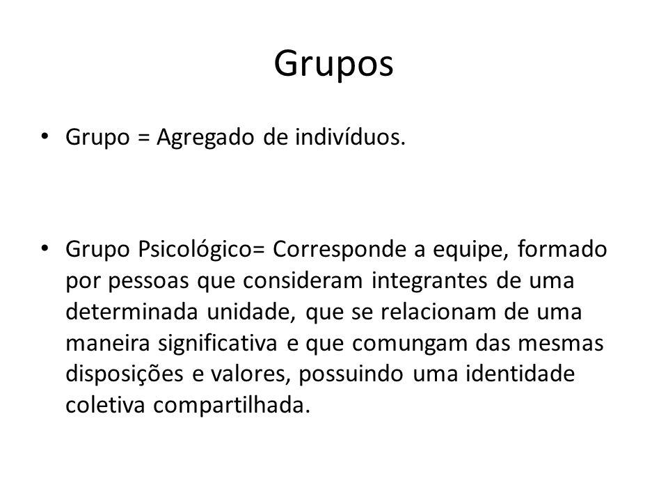 Grupos Grupo = Agregado de indivíduos. Grupo Psicológico= Corresponde a equipe, formado por pessoas que consideram integrantes de uma determinada unid