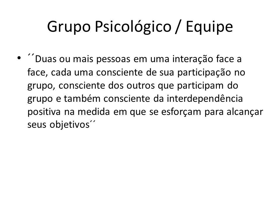 Grupo Psicológico / Equipe ´´ Duas ou mais pessoas em uma interação face a face, cada uma consciente de sua participação no grupo, consciente dos outr