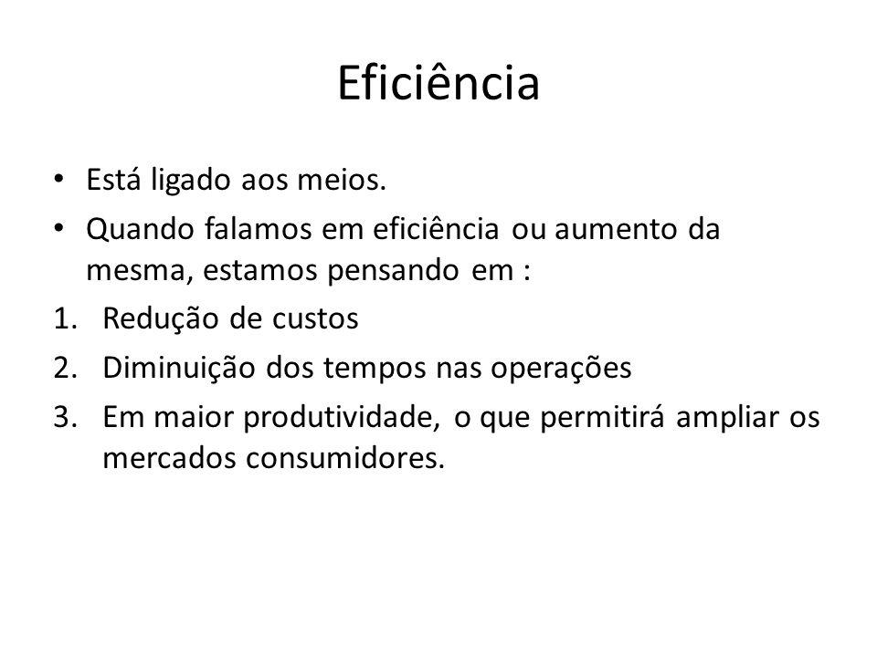 Eficiência Está ligado aos meios. Quando falamos em eficiência ou aumento da mesma, estamos pensando em : 1.Redução de custos 2.Diminuição dos tempos
