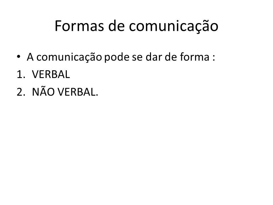 Formas de comunicação A comunicação pode se dar de forma : 1.VERBAL 2.NÃO VERBAL.