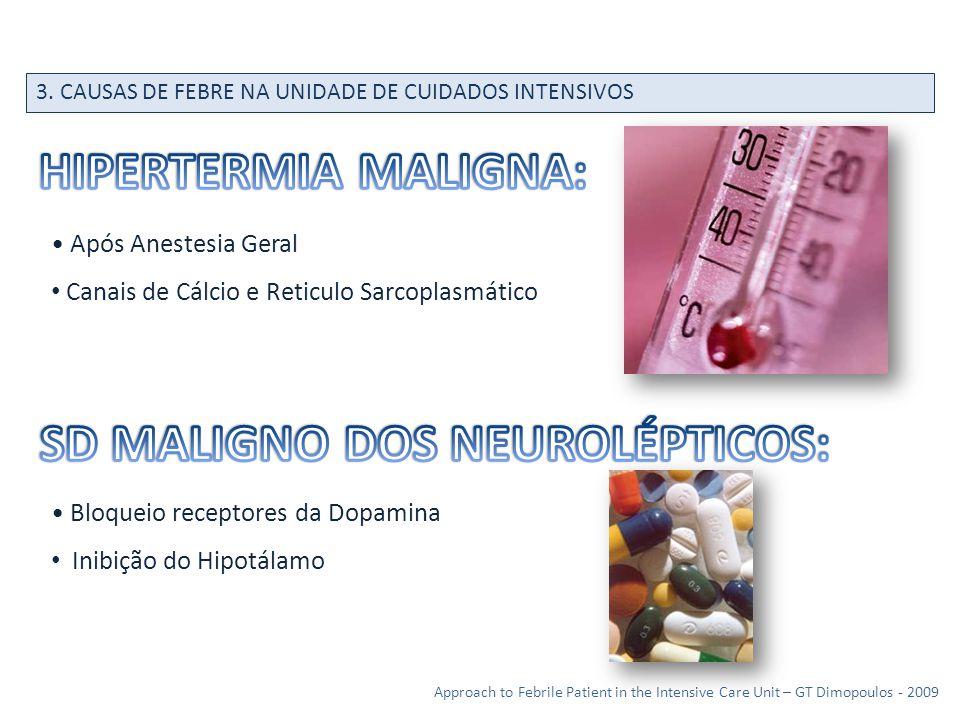 Após Anestesia Geral Canais de Cálcio e Reticulo Sarcoplasmático Approach to Febrile Patient in the Intensive Care Unit – GT Dimopoulos - 2009 Bloquei