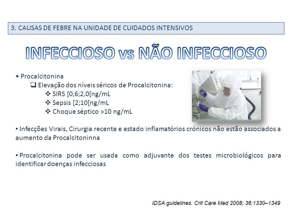 Procalcitonina Elevação dos níveis séricos de Procalcitonina: SIRS [0,6;2,0[ng/mL Sepsis [2;10[ng/mL Choque séptico »10 ng/mL Infecções Virais, Cirurg