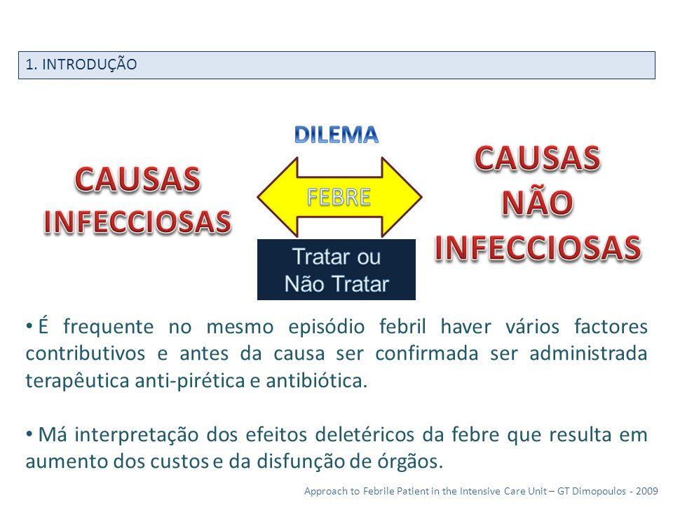1. INTRODUÇÃO Approach to Febrile Patient in the Intensive Care Unit – GT Dimopoulos - 2009 É frequente no mesmo episódio febril haver vários factores