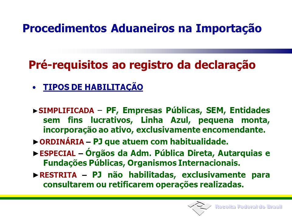 Receita Federal do Brasil TIPOS DE HABILITAÇÃO SIMPLIFICADA – PF, Empresas Públicas, SEM, Entidades sem fins lucrativos, Linha Azul, pequena monta, in