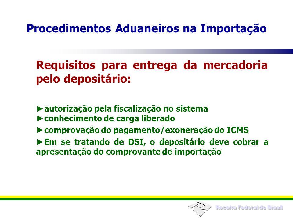 Receita Federal do Brasil Procedimentos Aduaneiros na Importação Requisitos para entrega da mercadoria pelo depositário: autorização pela fiscalização