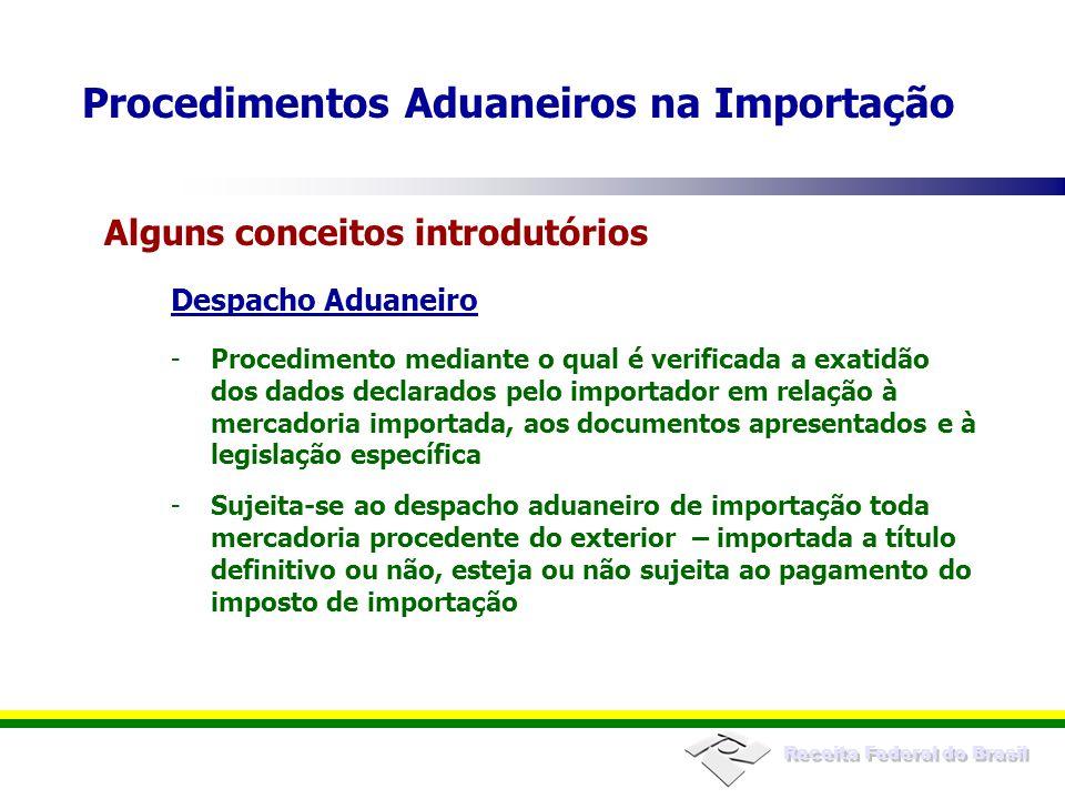Receita Federal do Brasil Tem-se por iniciado o despacho de importação na data do registro da declaração de importação O registro da declaração de importação consiste em sua numeração pela RFB, por meio do Siscomex Após registro, perda da espontaneidade Registro da DI Procedimentos Aduaneiros na Importação