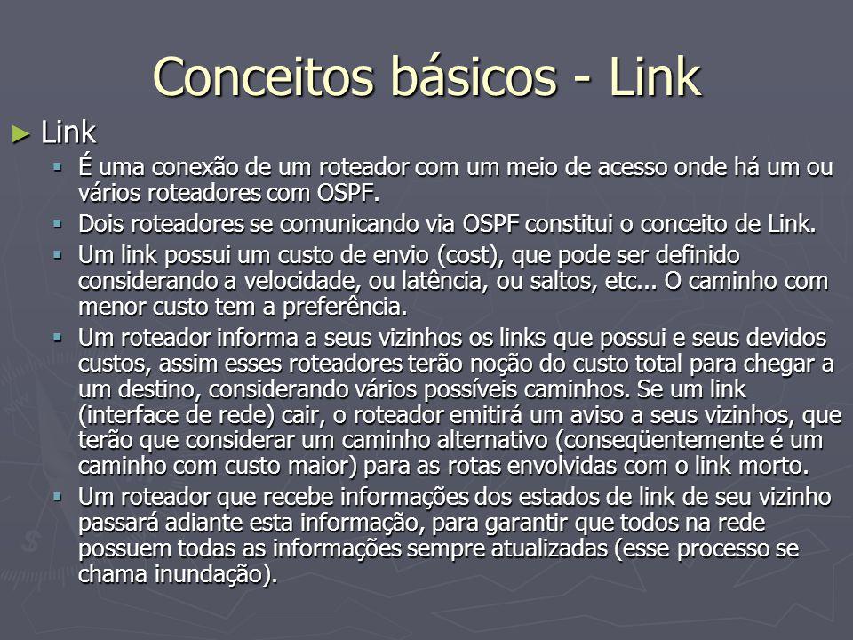 Conceitos básicos - Link Link Link É uma conexão de um roteador com um meio de acesso onde há um ou vários roteadores com OSPF. É uma conexão de um ro