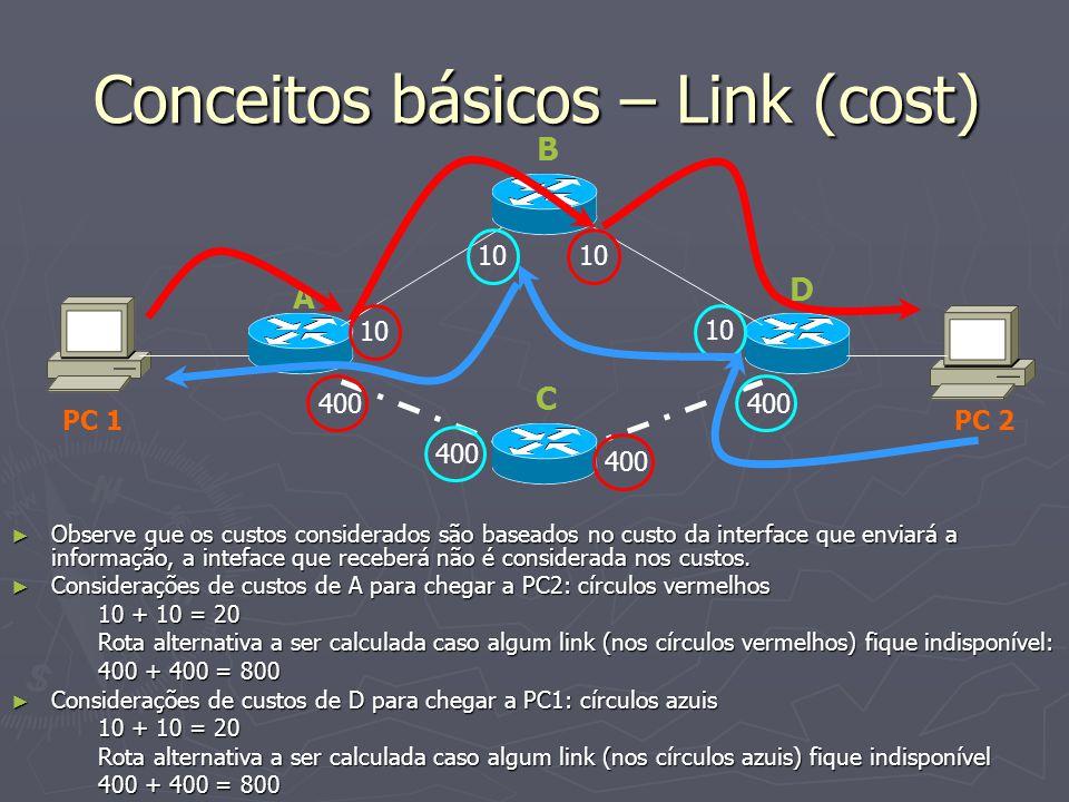 Conceitos básicos – Link (cost) 400 10 A C D PC 1 PC 2 Observe que os custos considerados são baseados no custo da interface que enviará a informação,