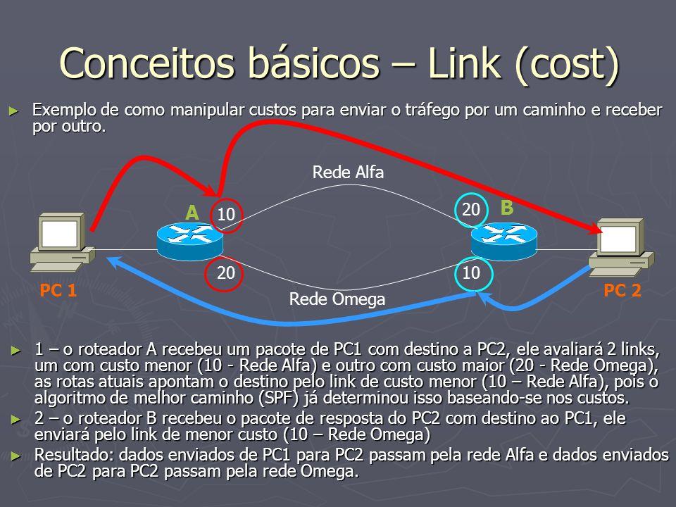 Conceitos básicos – Link (cost) Exemplo de como manipular custos para enviar o tráfego por um caminho e receber por outro. Exemplo de como manipular c