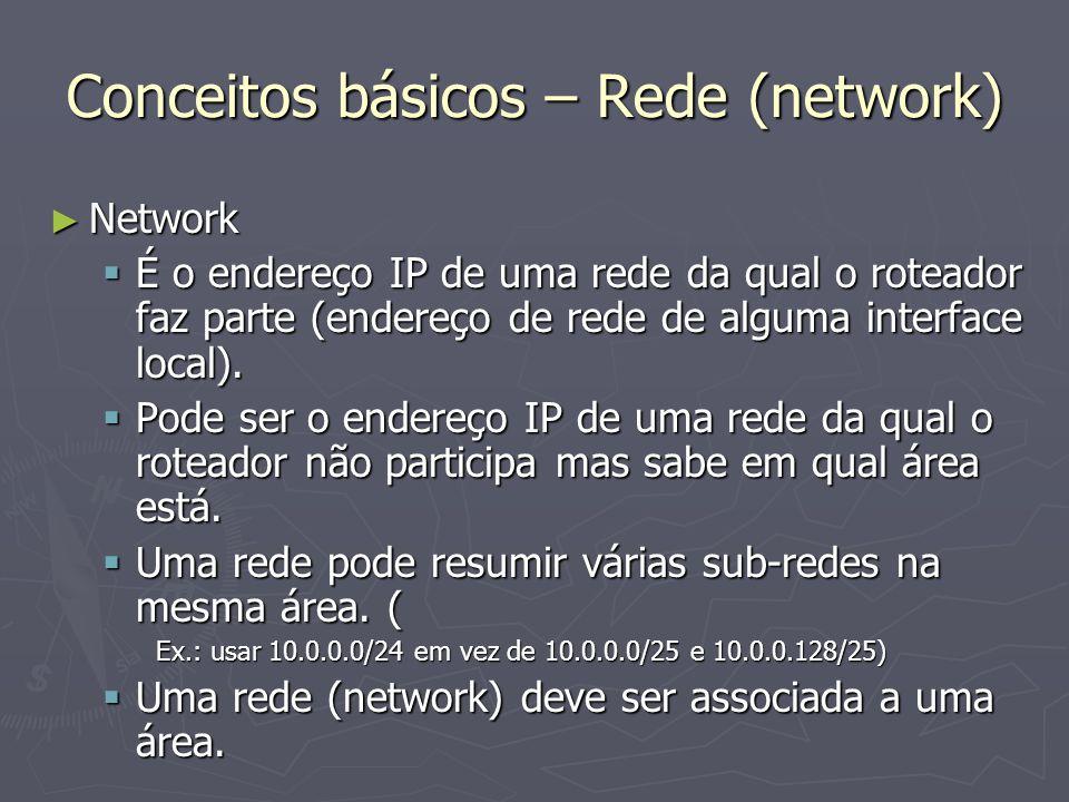 Conceitos básicos – Rede (network) Network Network É o endereço IP de uma rede da qual o roteador faz parte (endereço de rede de alguma interface loca