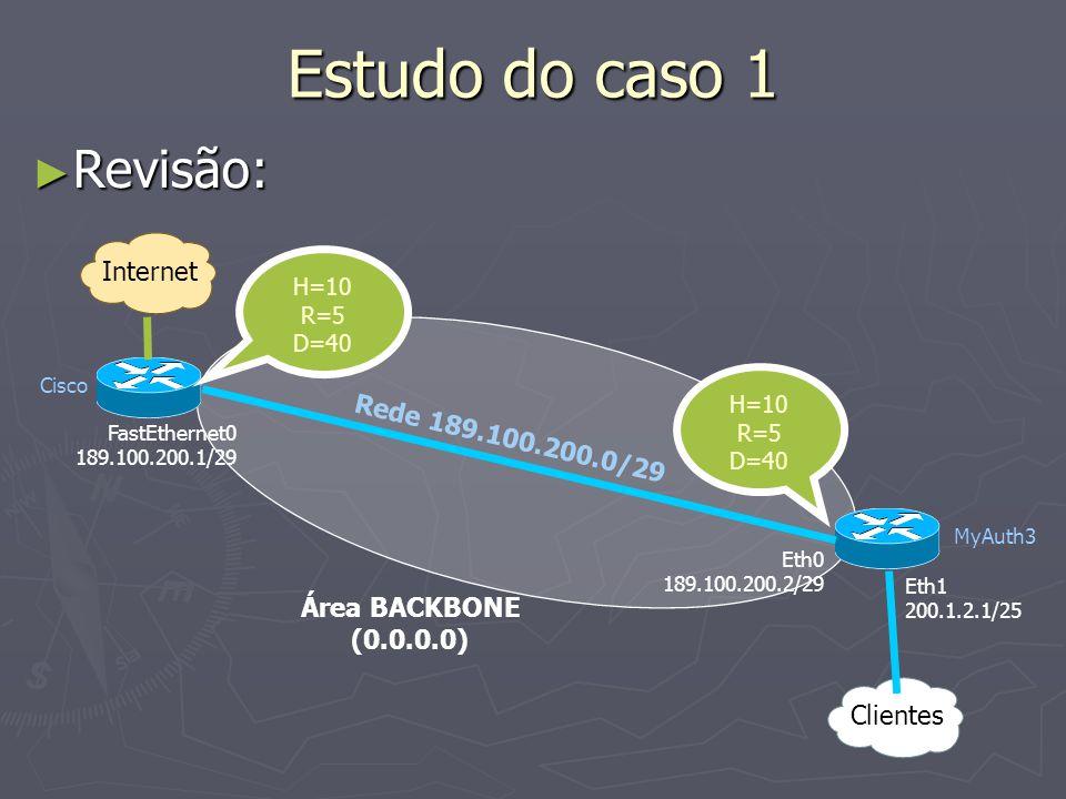 Estudo do caso 1 Revisão: Revisão: Internet Cisco MyAuth3 Clientes Eth1 200.1.2.1/25 Eth0 189.100.200.2/29 FastEthernet0 189.100.200.1/29 H=10 R=5 D=40 H=10 R=5 D=40 Área BACKBONE (0.0.0.0) Rede 189.100.200.0/29