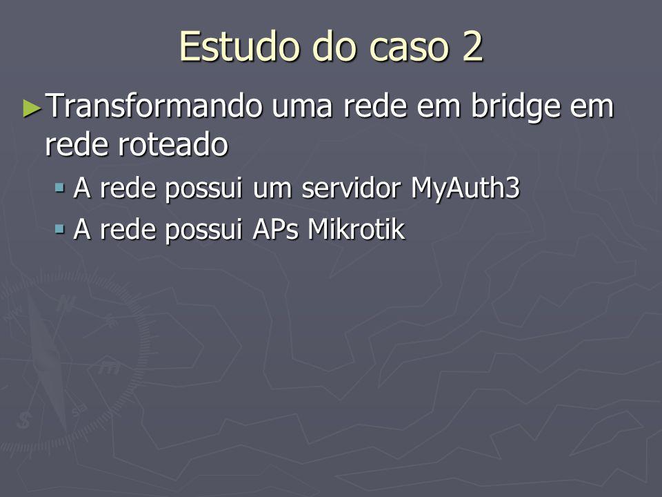 Estudo do caso 2 Transformando uma rede em bridge em rede roteado Transformando uma rede em bridge em rede roteado A rede possui um servidor MyAuth3 A rede possui um servidor MyAuth3 A rede possui APs Mikrotik A rede possui APs Mikrotik