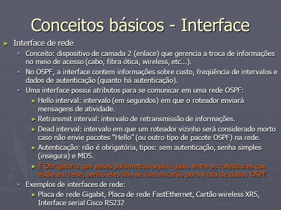 Conceitos básicos - Interface Interface de rede Interface de rede Conceito: dispositivo de camada 2 (enlace) que gerencia a troca de informações no meio de acesso (cabo, fibra ótica, wireless, etc...).