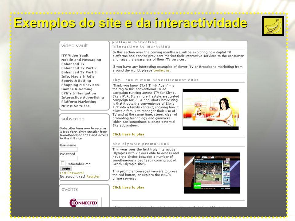 Exemplos do site e da interactividade