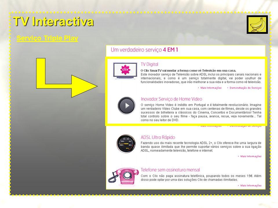TV Interactiva Serviços oferecidos pelo Triple Play Triple Play