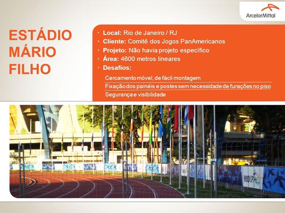 Local: Rio de Janeiro / RJ Cliente: Comitê dos Jogos PanAmericanos Projeto: Não havia projeto específico Área: 4600 metros lineares Desafios: ESTÁDIO