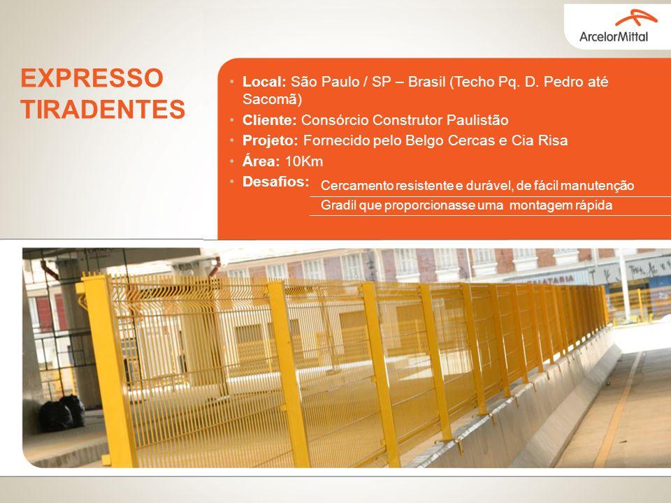 Local: São Paulo / SP – Brasil (Techo Pq. D. Pedro até Sacomã) Cliente: Consórcio Construtor Paulistão Projeto: Fornecido pelo Belgo Cercas e Cia Risa