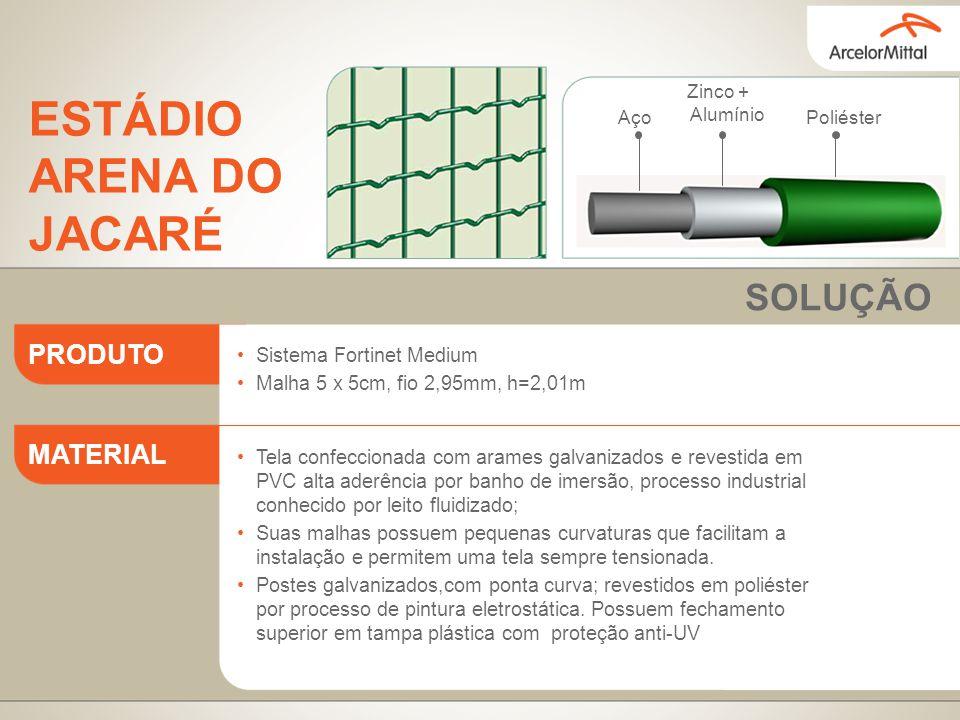 Sistema Fortinet Medium Malha 5 x 5cm, fio 2,95mm, h=2,01m Tela confeccionada com arames galvanizados e revestida em PVC alta aderência por banho de i